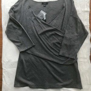 Lord & Taylor V-Neck Wrap Sweater Grey 1X